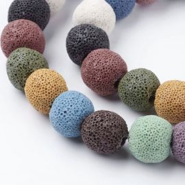 Lava beads. Multicolor- mix size 12 mm, 1 strand