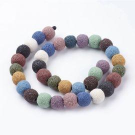 Lava beads, 12 mm, 1 strand