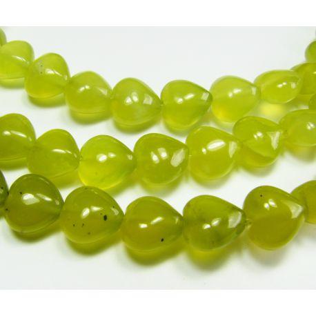 Nefrito karoliukai, geltonai žalios spalvos, širdelės formos, 8 mm
