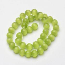 Cat eye beads, 10 mm, 1 strand