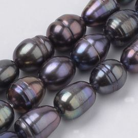 Freshwater pearls. Dark purple-green-blue size 7-10x5-7 mm