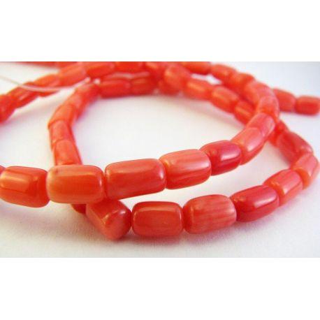 Koralo karoliukai raudonos - rausvos spalvos vazdelio formos 5-8mm