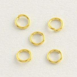 Nerūdijančio plieno 304 viengubas atviras žiedelis. Aukso spalvos dydis 4x0,6 mm