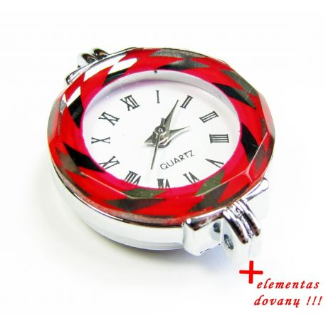 Mechanical clock with element, red 30x26 mm