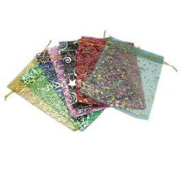 Organzos maišeliai. Spalvų miksas su blizgiais ornamentais dydis 19-20x14-15 cm