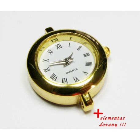 Mechanical clock with element, gold color 28x25 mm