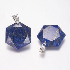 Natural Lapis Lazuli pendant. Dark blue with gold dust size 41x28x9 mm