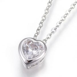 Stainless steel 304 chain with Zirconium pendant, 1 pcs