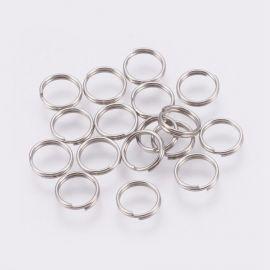 Nerūdijančio plieno 304 dvigubi žiedeliai, 7x0,6 mm, 30 vnt., 1 maišelis