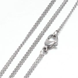 Stainless steel 304 chain with carbine clasp. Nickel color, length 49 cm