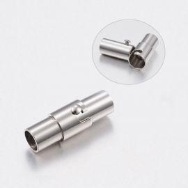 Nerūdijančio plieno 304 magnetinis užsegimas su papildomu fiksavimu. Platinos spalvos dydis 18x6,5 mm