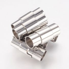 Stainless steel 304 magnetic clasp with additional locking, 18x7 mm, 2 pcs