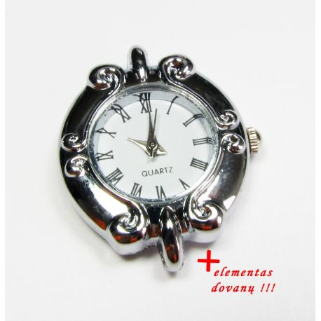 Mechanical clock with element, silver color 31x26 mm