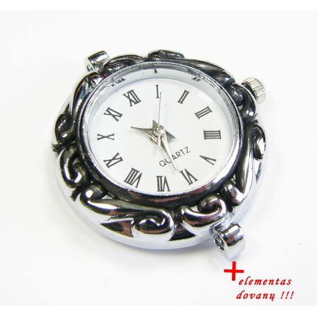 Mechanical clock with element, silver color 30x28 mm