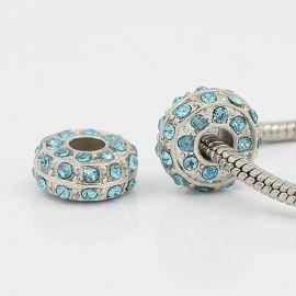 Insert bead with apertures hole diameter ~5 mm.. Metal - platinum size 14x7 mm