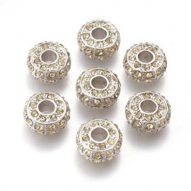 Spacer bead with rhinestones, 14x7 mm, 2 pcs., 1 bag