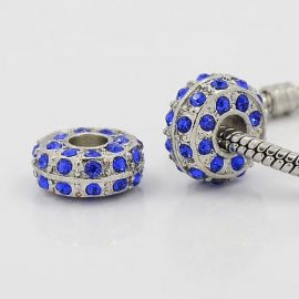 Spacer bead with rhinestones, 14x7 mm, 2 pcs., 1 bag