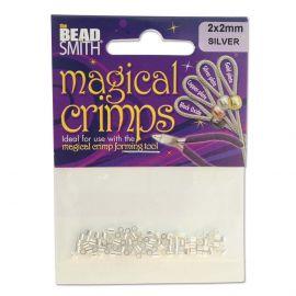 Silver print clips Magical 2x2 mm ~100 pcs. 1 bag