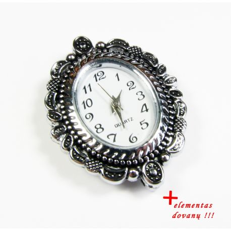 Mechanical clock with element, silver color 33x27 mm