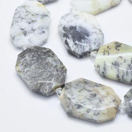 Natural Opal Dendritis. White - yellowish - gray - blackbriunsized size 31-36x24-26x6-8 mm