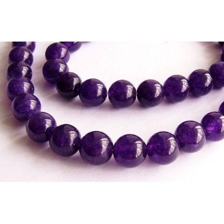 Agato karoliukų gija violetinės spalvos apvalios formos 6mm gijoje 64 vnt.