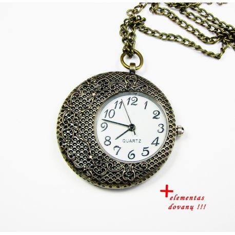 Kišeninis laikrodis su elementu, sendintos bronzinės spalvos su grandinėle 35 mm