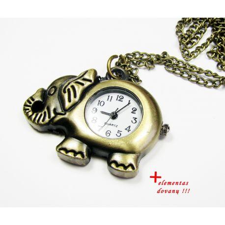 """Kišeninis laikrodis """"Drambliukas"""", bronzinės spalvos su grandinėle 42x32 mm"""