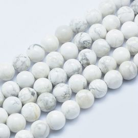 Natural Houlite beads. White with gray inserts size 8 mm