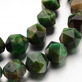 Natural beads of the Tiger Eye are painted. Greenbriunsize size 10 mm