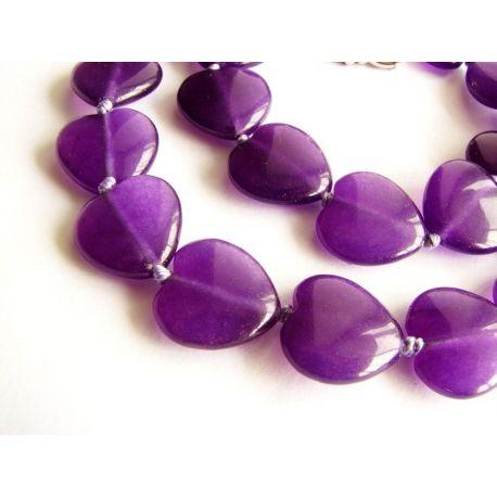 Ametisto karoliukai violetinės spalvos širdelės formos 14mm