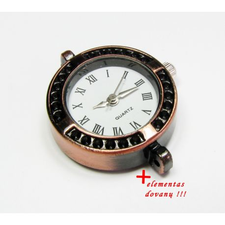 Mechanical clock with element, aged copper color 28x25 mm