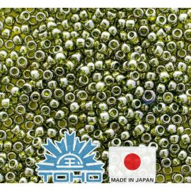 TOHO® Seed Beads Gold-Lustered Green Tea TR-11-457 11/0 (2.2 mm) 10 g.