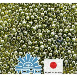 TOHO® seemnehelmed kuldkihiga roheline tee TR-11-457 11/0 (2,2 mm) 10 g.