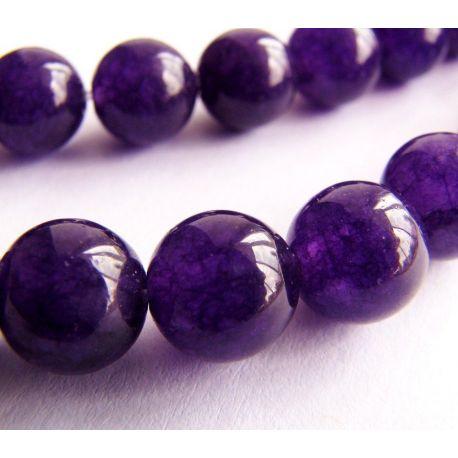 Ametisto karoliukai violetinės spalvos apvalios formos 8mm
