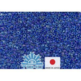 TOHO® seemnehelmed seestpoolt läikiv kristall / Kariibi mere sinise voodriga 11/0 (2,2 mm) 10 g.