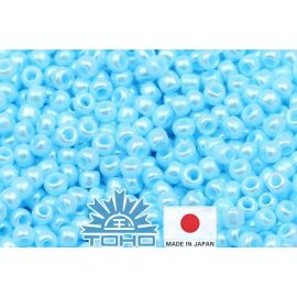 TOHO® Seed Beads Opaque-Lustered Pale Blue 11/0 (2.2 mm) 10 g.