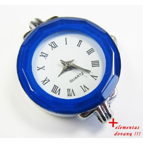 Mechanical clock with element, blue 30x25 mm