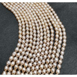 Natural Freshwater Pearls Class A 6-6.5x4 mm. ,1 strand