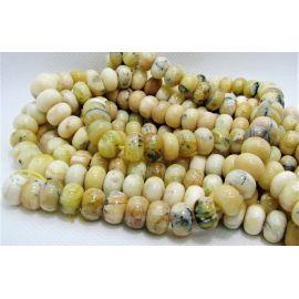 Бусины из натурального желтого опала 10х6,5 мм. , 1 прядь