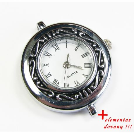 Mechanical clock with element, silver color 32x29 mm
