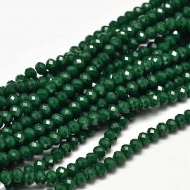 Glass beads 4x3 mm., 1 strand dark green