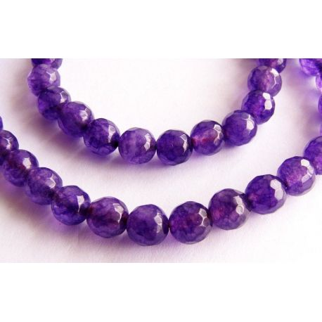 Ametisto karoliukai violetinės spalvos briaunuoti apvalios formos 4mm