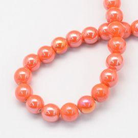 Handmade ceramic beads 8 mm. 10 pcs, 1 bag of orange