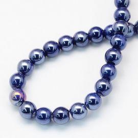 Handmade ceramic beads 8 mm. 10 pcs, 1 bag dark blue