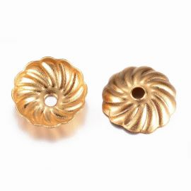 Stainless steel 304 cap 7x1.5 mm. 4 pcs, 1 bag gold color