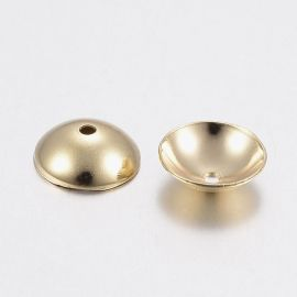 Stainless steel 304 cap 6x2 mm. 6 pcs, 1 bag gold color