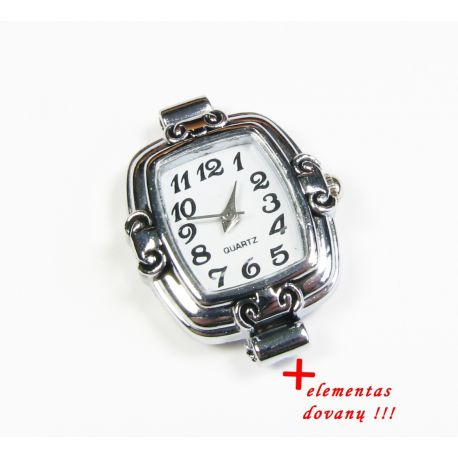 Mechanical clock with element, silver color 31x24 mm