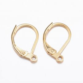 Stainless steel 304 earrings hooks 15.5x10x1.5 mm. 2 pairs, 1 bag