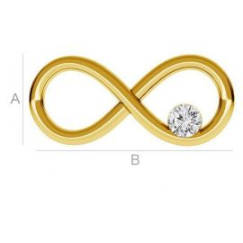 """Gold-plated distributor """"Infinity"""" with Swarovski eye 925 16x8 mm. 1 pcs. gold color"""