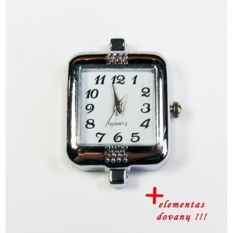 Mechanical clock with element, silver color 32x25 mm